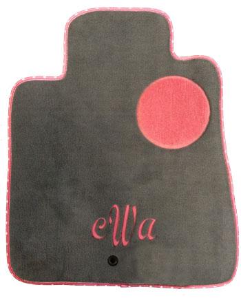 pink monogram floor mat