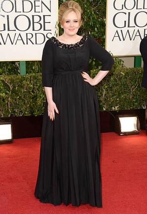 Adele in Black Dress on Red Carpet at 2013 Golden Globes