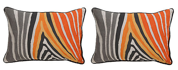 Bright color zebra accent pillows