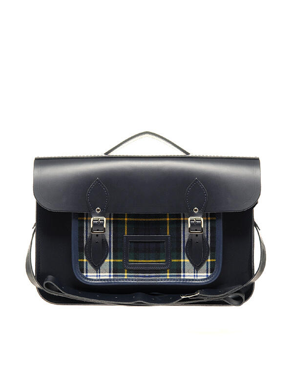 "The Cambridge Satchel Company 15"" Leather Satchel With Tartan Pocket"