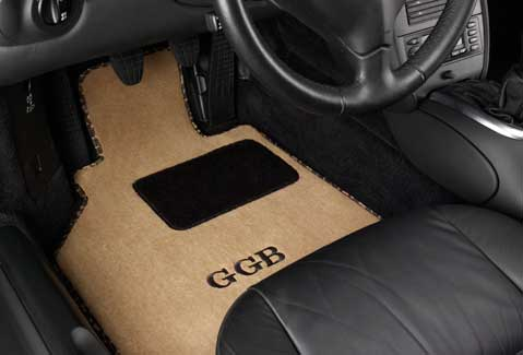 GG Bailey custom car mat with heelpad and embroidery