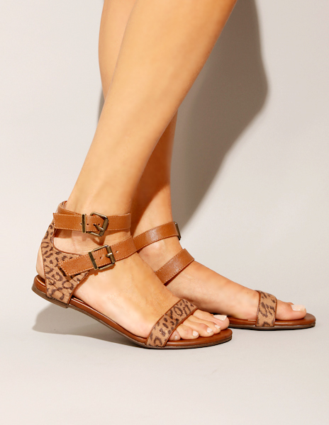 Leopard Leather Sandals