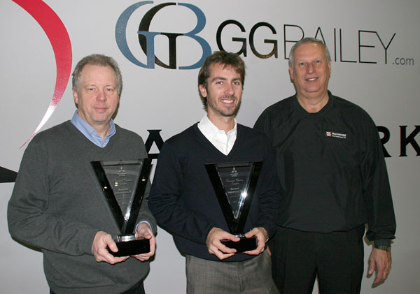 GG Bailey and Racemark Execs holding Diamond Quality award from Mitsubishi