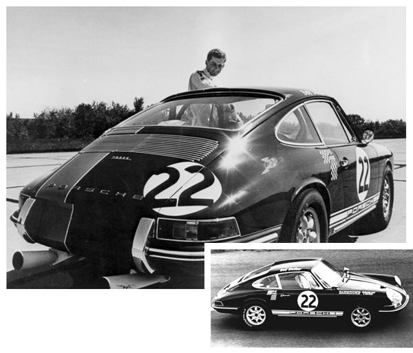 Racemark International Founder and CEO Bob Bailey poses with his Porsche 911L racecar in 1968.