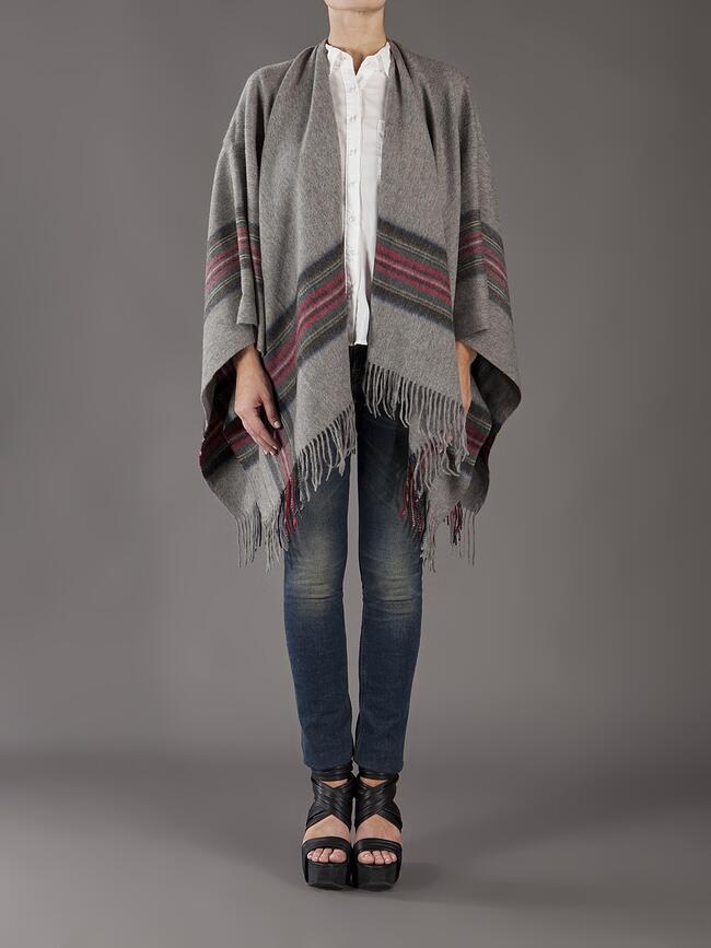 Grey Wool Plaid Poncho by Subtle Luxury
