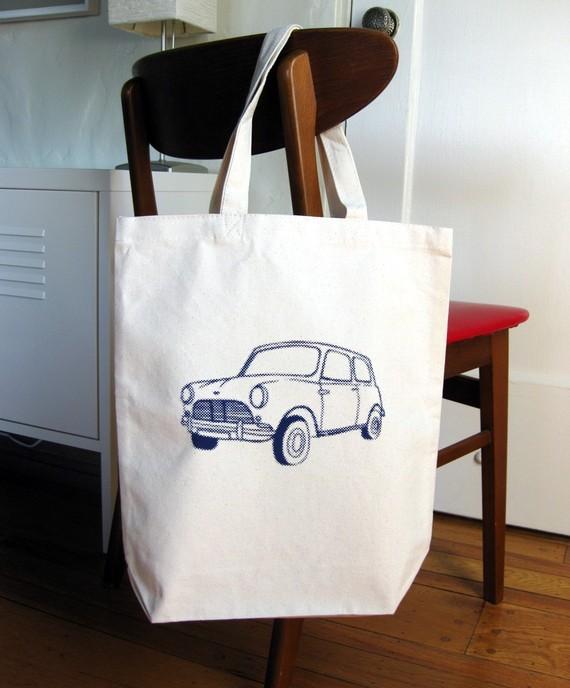 Tote Bag with Mini Cooper