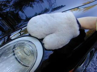 In addition to custom car mats, GG Bailey also sells luxury car accessories, like this sheepskin car detailer.