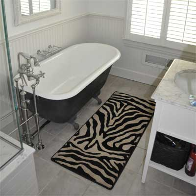 Zebra print bath rug from GG Bailey