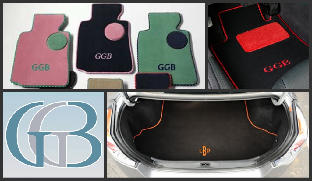 Monogrammed custom car mats and cargo mats by GG Bailey