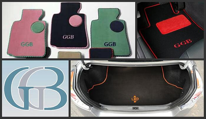 Monogrammed custom car mats and cargo mats by GG Bailey