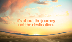 it's about the journey not the destination text on open road background