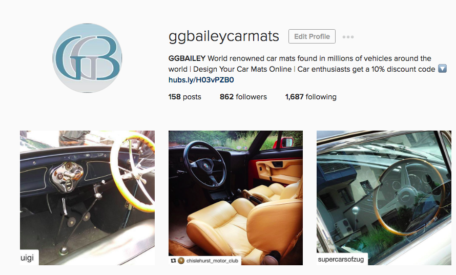 GGBAILEY Car Mats Instagram