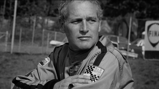 Paul Newman wearing an orignial Racemark B&B Motors racing suit